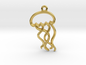 Tiny Jellyfish Charm in Polished Brass