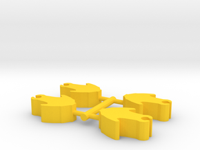 Game Piece, Core Union Attack Craft, 4-set in Yellow Strong & Flexible Polished