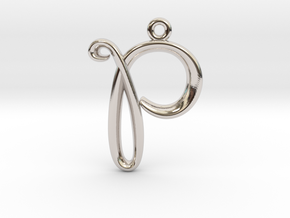 P Initial Charm in Rhodium Plated Brass
