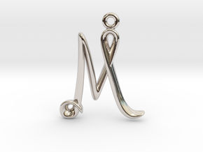 M Initial Charm in Rhodium Plated Brass