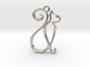 Tiny Cat Charm in Platinum