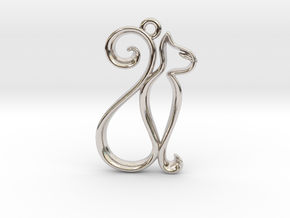 Tiny Cat Charm in Rhodium Plated Brass