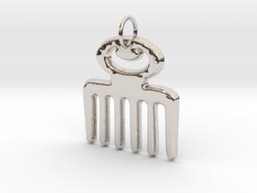DUAFE (Adinkra Symbol of Feminine Beauty) in Rhodium Plated Brass
