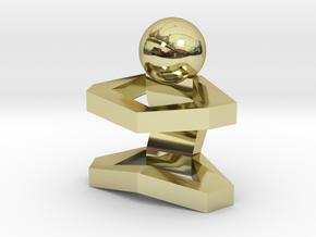 Board Game 'Tsumi Yoga' Block#1 in 18k Gold Plated Brass