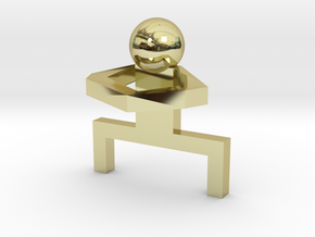 Board Game 'Tsumi Yoga' Block#7 in 18k Gold Plated Brass