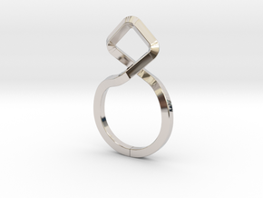 A-LINE Dancing D.011 Ring US size 3.5, d=14,5mm in Rhodium Plated Brass: 3.5 / 45.25