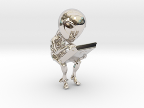 Aliens cradle in Rhodium Plated Brass
