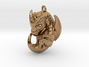 Metal Baby Dragon Pendant in Polished Brass
