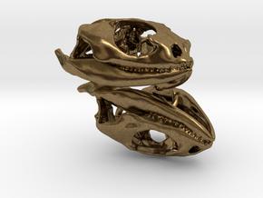 Bearded Dragon Earrings 30mm in Natural Bronze