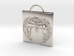 Anonymous logo keychain in Rhodium Plated