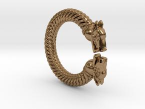 VIking Dragon Ring Alfa in Natural Brass