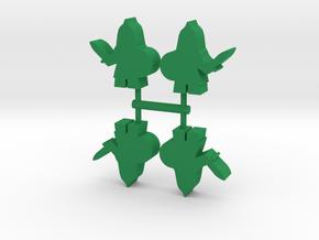 Saracen Warrior Meeple, 4-set in Green Processed Versatile Plastic