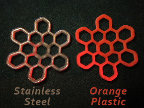 Hex Petal - 4cm in Orange Processed Versatile Plastic