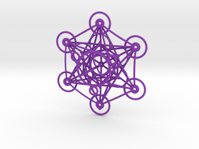 Metatron's Cube - 8cm - wStand in Purple Processed Versatile Plastic