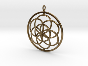Seed of Life Pendant - 4.5cm in Polished Bronze