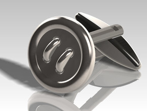 Cufflink Classic in Polished Bronzed Silver Steel