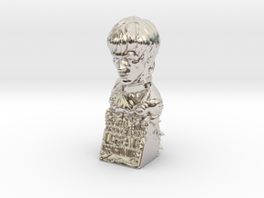 Bruce Lee Bust with Quote, Size S in Rhodium Plated Brass