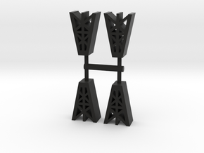 Oil Derrick Meeple, 4-set in Black Natural Versatile Plastic