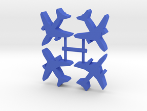 Airliner Meeple, two engines, 4-set in Blue Processed Versatile Plastic
