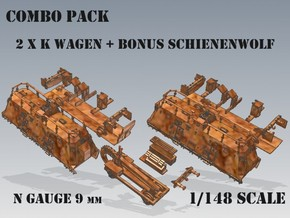 1-148 2x K-Wagen BP-42 + SchienenWolf in Smooth Fine Detail Plastic
