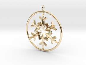 Flake Ring 6 Point Pendant - 6cm - w Loopet in 14k Gold Plated Brass