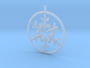 Flake Ring 6 Point Pendant - 6cm - w Loopet in Smooth Fine Detail Plastic