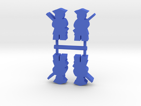 Colonial American Soldier Meeple, 4-set in Blue Processed Versatile Plastic