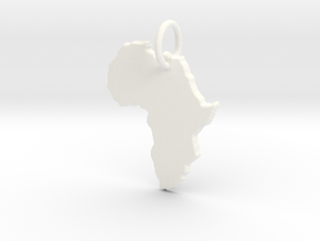 Africa country map Pendant  in White Processed Versatile Plastic