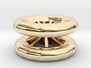 Double Wheel Export 3 in 14k Gold Plated Brass