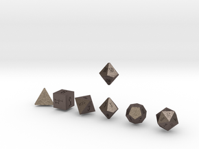 ELDRITCH SHARP Innies dice in Polished Bronzed Silver Steel
