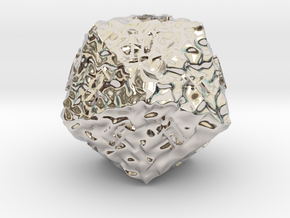 ELDRITCH ROUGH d20 in Rhodium Plated Brass