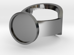 Customizable Bottle Opening Ring - Size 15 in Premium Silver