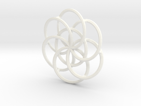 Seed of Life - 4.6cm in White Processed Versatile Plastic