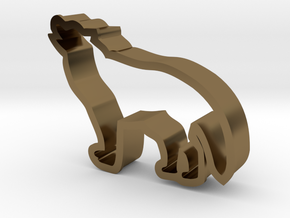 Wolf shaped cookie cutter in Polished Bronze