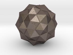 Truncated Icosahedron - aka Football in Polished Bronzed Silver Steel