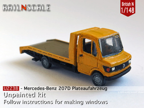 Mercedes-Benz 207D Plateau (British N 1:148) in Smooth Fine Detail Plastic