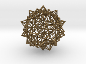 Stellated Icosidodecahedron - Wireframe in Natural Bronze