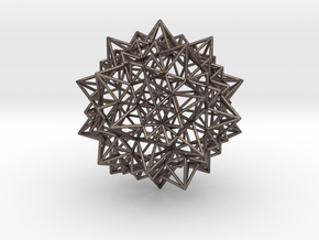Stellated Icosidodecahedron - Wireframe in Polished Bronzed Silver Steel