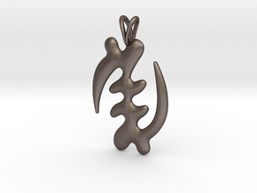 GYE NYAME Symbol Jewelry Pendant in Polished Bronzed Silver Steel