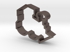 Train Engine Cookie Cutter in Polished Bronzed Silver Steel