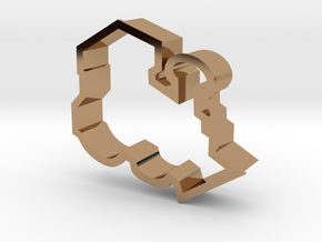 Train Engine Cookie Cutter in Polished Brass