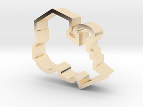 Train Engine Cookie Cutter in 14k Gold Plated Brass