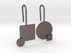 Carré et cercle Earrings in Polished Bronzed Silver Steel