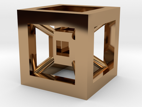 4D Cube(Tesseract) 12.5mm in Polished Brass