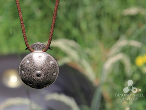 Handpan Instrument Pendant in Polished Bronzed Silver Steel
