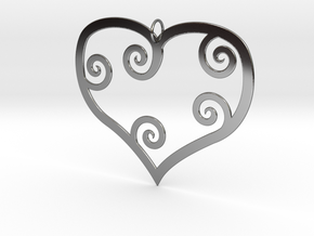 Heart Shaped Pendant in Fine Detail Polished Silver