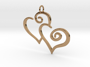 2-Heart Charm Pendant in Polished Brass