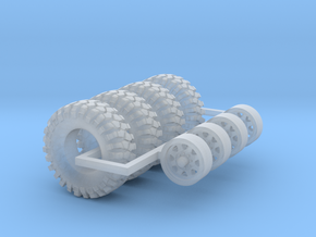 1/64 Crawler Tires with wheels in Smooth Fine Detail Plastic