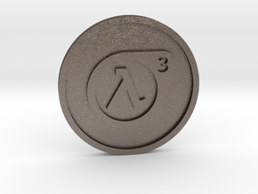 Half-Life 3 Lucky Coin in Polished Bronzed Silver Steel