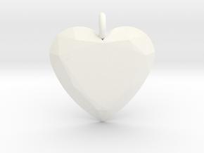 Heart Ornament in White Processed Versatile Plastic